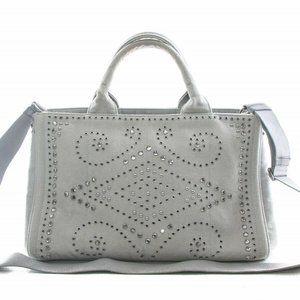 Prada Canapa Tote denim Studded 2way bag